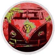 Volkswagen Bus Pop Red Round Beach Towel