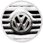 Volkswagen Symbol Under The Snow Round Beach Towel