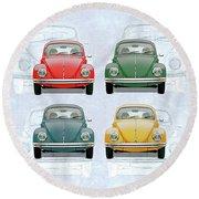Volkswagen Type 1 - Variety Of Volkswagen Beetle On Vintage Background Round Beach Towel