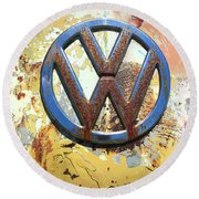 Volkswagen Vw Emblem With Rust Round Beach Towel by Kelly Hazel