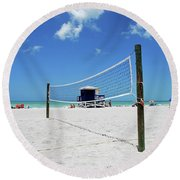 Round Beach Towel featuring the photograph Volley Ball On The Beach by Gary Wonning