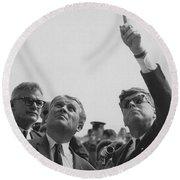 Von Braun And Jfk Looking Towards The Sky Round Beach Towel