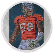 Von Miller Denver Broncos Art 1 Round Beach Towel