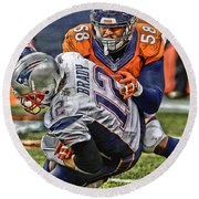 Von Miller Denver Broncos Art Round Beach Towel