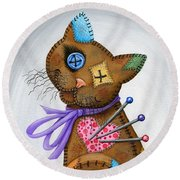 Round Beach Towel featuring the painting Voodoo Cat Doll - Patchwork Cat by Carrie Hawks