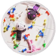 Voodoo Dolls Surrounded By Colorful Thumbtacks Round Beach Towel