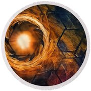 Vortex Of Fire Round Beach Towel