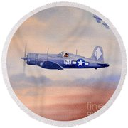 Round Beach Towel featuring the painting Vought F4u-1d Corsair Aircraft by Bill Holkham