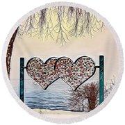 Round Beach Towel featuring the digital art Vow Of Love by Pennie McCracken