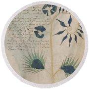 Voynich Flora 12 Round Beach Towel