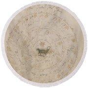 Voynich Manuscript Astro Scorpio Round Beach Towel
