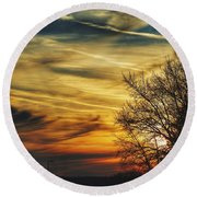 Round Beach Towel featuring the photograph Vscoskies by Nikki McInnes