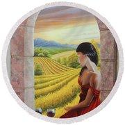 Mujer En Rojo Round Beach Towel by Angel Ortiz
