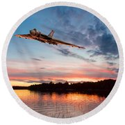 Round Beach Towel featuring the digital art Vulcan Low Over A Sunset Lake by Gary Eason