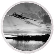 Round Beach Towel featuring the digital art Vulcan Low Over A Sunset Lake Sunset Lake Bw by Gary Eason