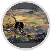 Vulture With Oncoming Storm Round Beach Towel