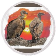 Vultures At Sunset Round Beach Towel