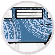 Vw Blue Van Round Beach Towel