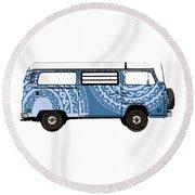 Vw Blue Van Round Beach Towel