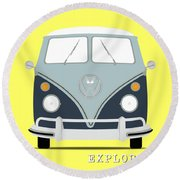 Vw Bus Blue Round Beach Towel
