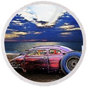 Rat Rod Surf Monster At The Shore Round Beach Towel