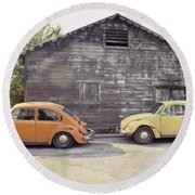 Vw's In Skagway Alaska Round Beach Towel