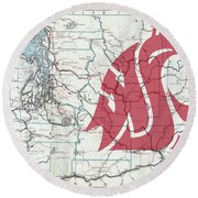 W S U Cougar Country Map Round Beach Towel by Daniel Hagerman