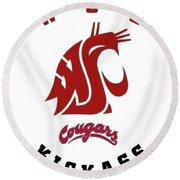 W S U Cougars Kickass Round Beach Towel