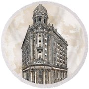 Round Beach Towel featuring the painting Wabash Station Pittsburgh, Pennsylvania, Circa 1905 by Andrzej Szczerski