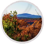 Wachusett In Fall Round Beach Towel
