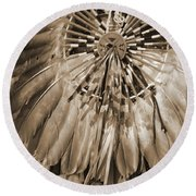 Round Beach Towel featuring the photograph Wacipi Dancer In Sepia by Heidi Hermes