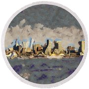 Round Beach Towel featuring the mixed media Wacky Philly Skyline by Trish Tritz