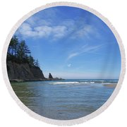 Wade In The Ocean Round Beach Towel by Adria Trail