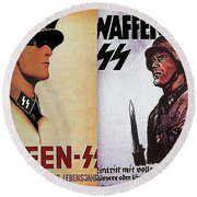 Waffen Ss Posters Dyptch Circa 1942-2016 Round Beach Towel