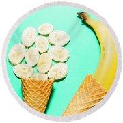 Waffle Cones With Fresh Banana Round Beach Towel