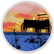 Wagon Hill At Sunset Round Beach Towel