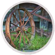 Round Beach Towel featuring the photograph Wagon Wheel And Fence by David and Carol Kelly