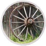 Wagon Wheel Round Beach Towel by David and Lynn Keller