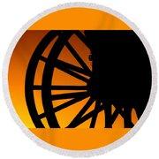 Wagon Wheel Sunset Round Beach Towel