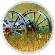 Wagon Wheels Round Beach Towel by Melanie Alexandra Price