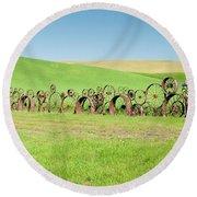 Wagon Wheels Stacked Palouse Washington Round Beach Towel by James Hammond