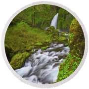 Round Beach Towel featuring the photograph Wahclella Falls by Darren White