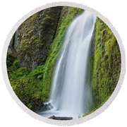 Round Beach Towel featuring the photograph Wahkeena Falls by Greg Nyquist