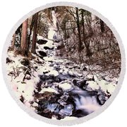 Round Beach Towel featuring the photograph Wahkeena Falls In Ice by Jeff Swan