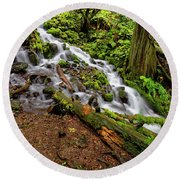 Round Beach Towel featuring the photograph Wahkeena Falls by Jonathan Davison