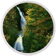 Wahkeena Falls Waterfall Round Beach Towel