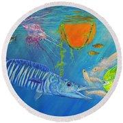 Wahoo Dolphin Painting Round Beach Towel