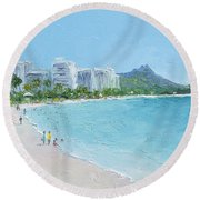 Waikiki Beach Honolulu Hawaii Round Beach Towel