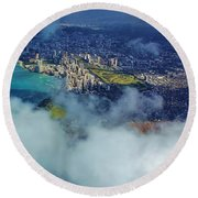 Round Beach Towel featuring the photograph Waikiki In Morning Light by Craig Wood