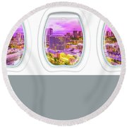 Waikiki Porthole Windows Round Beach Towel